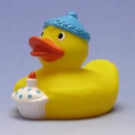Paperella di gomma blu Buon compleanno - Bild vergrößern