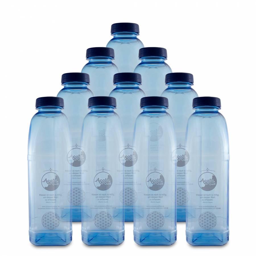 Tritan Trinkflasche 8-kant - 1 L 10er Sparset mit Blume des Lebens