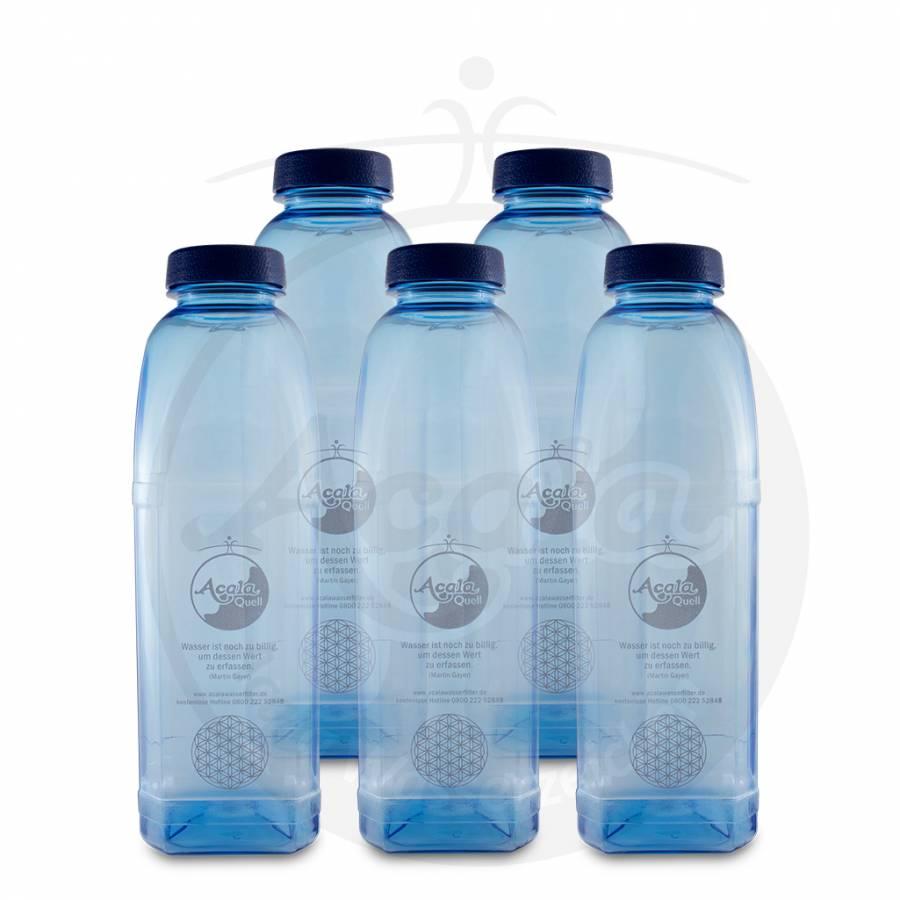 Tritan Trinkflasche 8-kant - 1L 5er Sparset mit Blume des Lebens