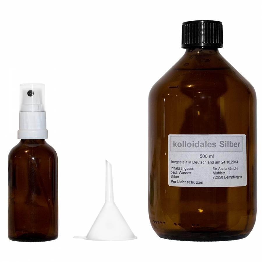 Kolloidales Silberwasser 500ml Set mit Sprühflasche und Abfülltrichter